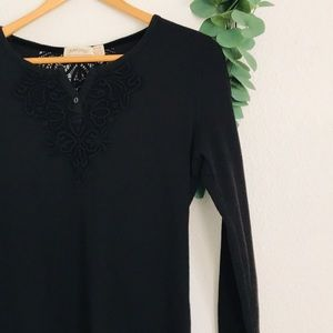 Faded Glory Black Lace Detailed Long Sleeve